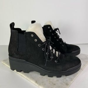 New Eileen Fisher Black Ankle Boots Calm Genuine Shearling Trim Bootie Size 8.5